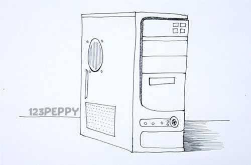 Как нарисовать Системный блок карандашом видеоурок