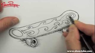 Как нарисовать скейтборд видео урок