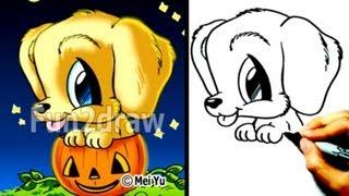 Как нарисовать Собаку в тыкве в стиле Chibi карандашом видео урок