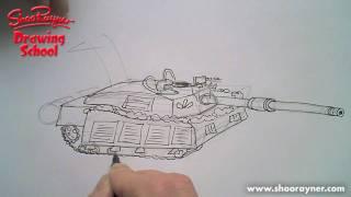 Как нарисовать Танк карандашом видео урок