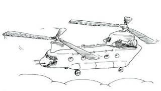 Как нарисовать вертолет - Boeing CH-47 карандашом видео урок