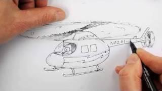 Как нарисовать Вертолет карандашом видео урок