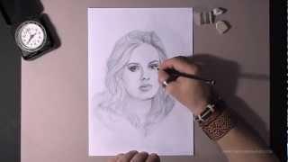 Как рисовать портрет Adele видео урок