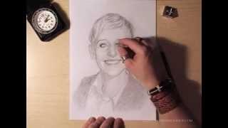 Как рисовать портрет Ellen Degeneres видео урок