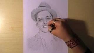 Как нарисовать портрет Bruno Mars видео урок