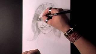Как нарисовать портрет Demi Lovato видео урок