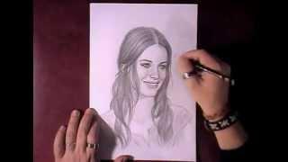 Как рисовать портрет Evangeline Lilly видео урок