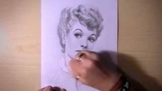 Как рисовать портрет Lucille Ball видео урок
