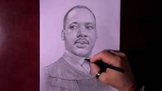 Как рисовать портрет Martin Luther King видео урок