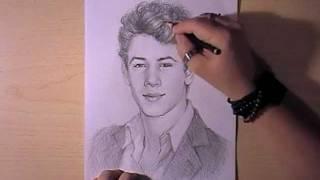 Как рисовать портрет Nick Jonas видео урок