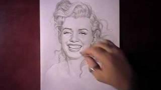 Как рисовать портрет Norma Jeane Baker видео урок