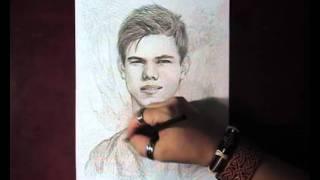 Как нарисовать портрет Taylor Lautner видео урок
