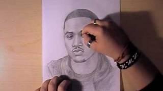 Как рисовать портрет Trey Songz видео урок