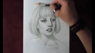 Как рисовать портрет Lady Gaga видео урок