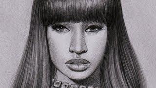 Как рисовать портрет Nicki Minaj видео урок