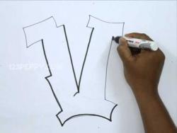 Видео как рисовать граффити букву V карандашом