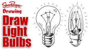 Видео как рисовать Лампочки карандашом на бумаге