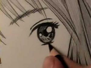 Видео как рисовать манга глаз девушки карандашом