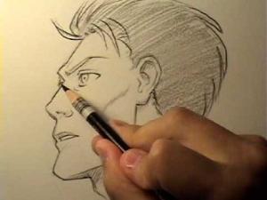 Видео как рисовать мужское манга лицо в профиль