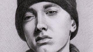 Как рисовать портрет Eminem видео урок