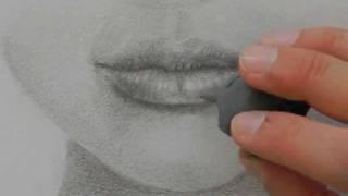 Как нарисовать реалистичные губы  видео урок