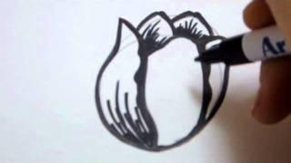 Как нарисовать тюльпан видео урок