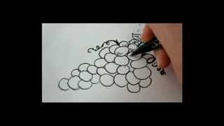 Как нарисовать  виноград видео урок