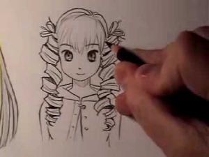 Видео как рисовать женские манга волосы: вьющиеся, прямые