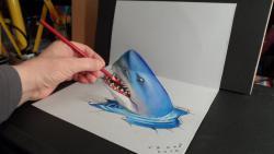 Видео урок: Как нарисовать 3д акулу на бумаге