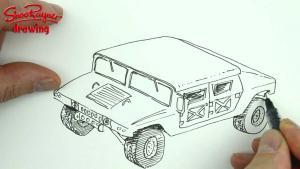 Видео урок как нарисовать Hummer (Хаммер) карандашом