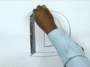 Видео урок как нарисовать букву D в 3d карандашом