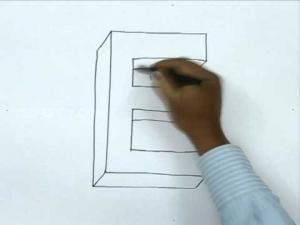 Видео урок как нарисовать букву E в 3d карандашом