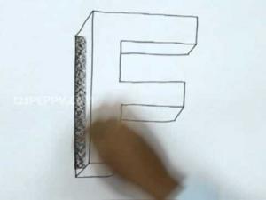 Видео урок как нарисовать букву F в 3d карандашом