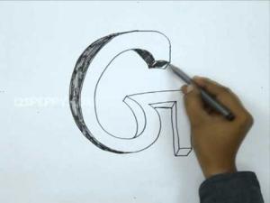 Видео урок как нарисовать букву G в 3d карандашом