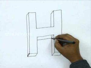 Видео урок как нарисовать букву H в 3d карандашом