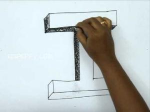 Видео урок как нарисовать букву I в 3d карандашом