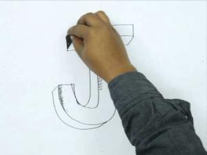 Видео урок как нарисовать букву J в 3d карандашом