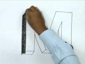 Видео урок как нарисовать букву M в 3d карандашом