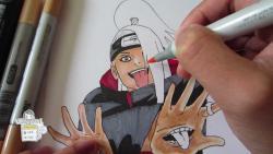 Видео урок: как нарисовать Дейдара из Наруто