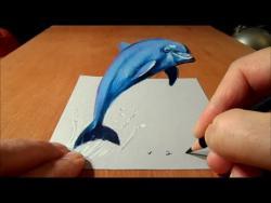 Видео урок: Как нарисовать Дельфина в 3D на бумаге
