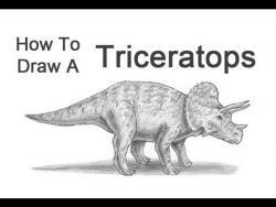 Видео урок: как нарисовать динозавра Трицератопса карандашом