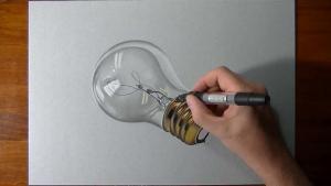 Видео урок как нарисовать лампочку на бумаге в 3d