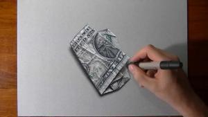 Видео урок как нарисовать мятый доллар на бумаге в 3d