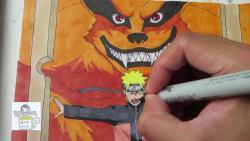 Видео урок как нарисовать Наруто и Курама
