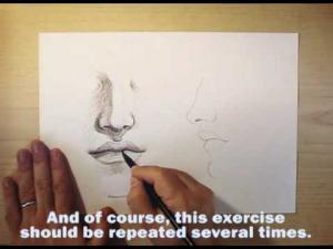 Видео урок как нарисовать нос и рот карандашом