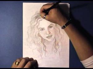 Видео урок как нарисовать портрет Шакиры