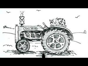 Видео урок как нарисовать трактор карандашом на бумаге