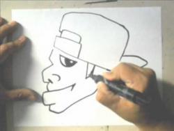 Видео урок как нарисовать веселого человечка в кепке в стиле граффити