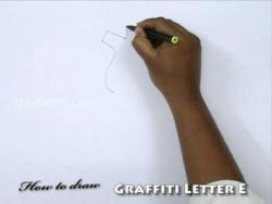 Видео урок как рисовать граффити букву E карандашом