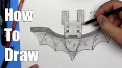 Видео урок: как нарисовать летучую мышь в стиле Minecraft